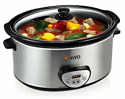 ViVo Sear and Stew Slow Cooker Digital Timer 6.5L Brushed Steel Food Kitchen