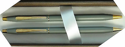 Cross Century Grey & Gold Ballpoint Pen & 0.5mm  Pencil Set New In Box