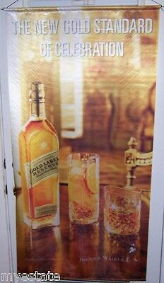 JOHNNIE WALKER Gold Label  Big Satin Advertising Banner Scotch Whisky Sign