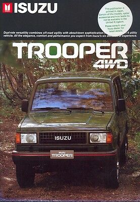 Isuzu Trooper 4WD 1986 UK market sales brochure
