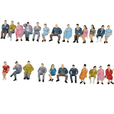 50pcs Painted Seated People Model Figures For Railway Decor 1 :42 O Scale