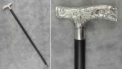 "WALKING STICK CANE Silver Nickel Plate DERBY HANDLE BLACK HARDWOOD 36 1/2"" Tall"