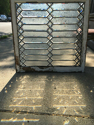 """Antique Beveled Glass Window from Chicago 34"""" by 34"""" Circa 1900"""