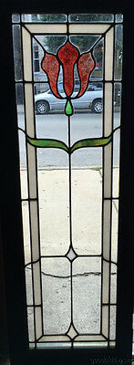 Antique 1920's Stained Leaded Glass Bookcase Cabinet Door Window Red Flame