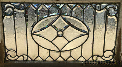 "Antique 1890's Victorian Beveled Glass Transom Window 34"" by 21"""