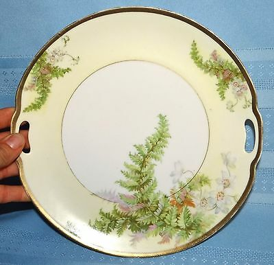 """Vtg Antique Prussia Hand Painted Ferns Gold Trim Handled 9.25"""" Plate"""