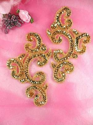 """0034 ~ RED JEWELS GOLD BEADED RED SEQUIN APPLIQUES MIRROR PAIR 6/""""  CRAFTS SEWING"""