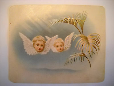 GROCER Victorian embossed TRADE CARD CHROMO heavens 2 child angels ROCHESTER NY
