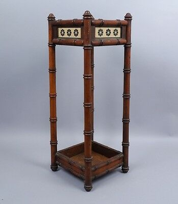 1870s-80s Herter Style Walnut Faux Bamboo Umbrella Stand w Pottery Tile Inserts