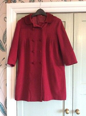 Girls Traditional Red 80% Wool Coat With Hood, Age 7-8, Velvet Trim, Tigerlily