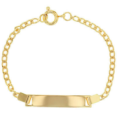 18k Gold Plated Infant Girl Baby ID Bracelet Name 5""