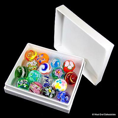 Collectors Box Set of 16 x Handmade Marbles- 16mm Intricate Glass Art Toy Marble
