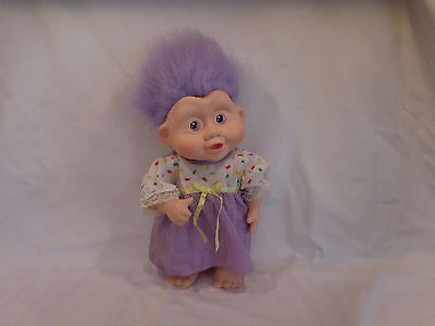 "Troll Doll Vintage APPLAUSE 1990s MAGIC TROLLS  12""  Vinyl Purple Hair DOLL"