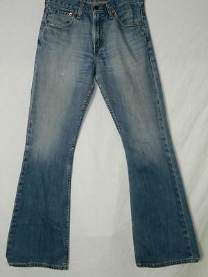 (LVS328) LEVI'S 516 MID BLUE, BUTTON FLY JEANS, red label, flared leg 29x34