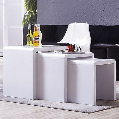 White Nest Table of 3 White Coffee Table With Modern Design High Gloss