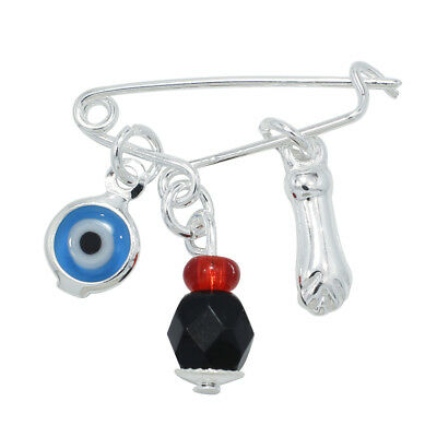 Silver Plated Evil Eye Protection Figa Hand Azabache Baby Pin Brooch Jewelry
