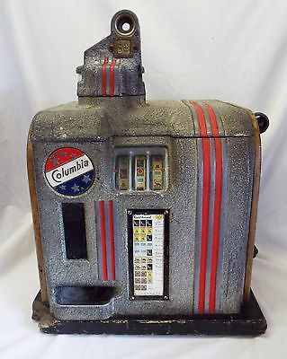Old Antique COLUMBIA 5 Cent Cigarette Advertising 3 Reel SLOT MACHINE