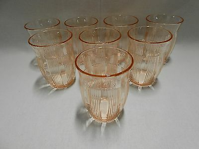 Hazel Atlas Rib & Panel 9870 Lot of 8 Pink Depression Glass Tumblers