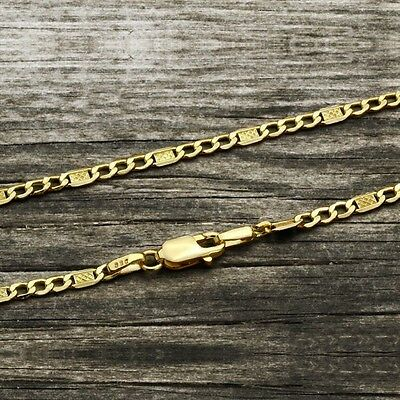 "FIGARO Chain Bracelet 14K SOLID YELLOW GOLD for Men Women 2mm 7""-8.6"" Unisex"