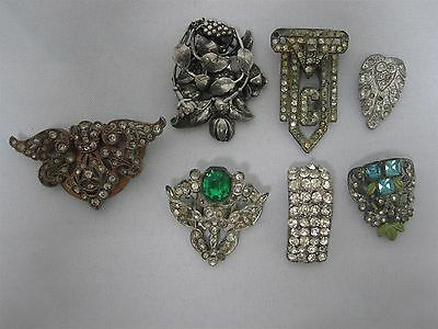 7 Antique Fur Clips With Rhinestones