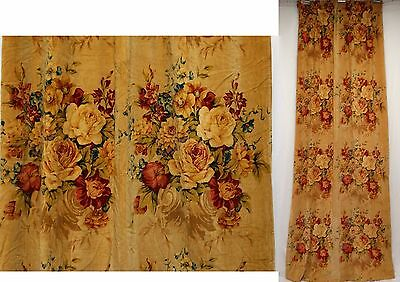"ANTIQUE FLORAL CABBAGE ROSES BOUQUETS VELVET FABRIC DRAPE PANEL 90"" long"