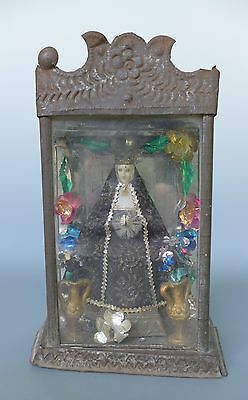 """Vintage Mexican punched tin metal nicho with Oaxaca Virgin of Soledad 9 1/4"""" T"""