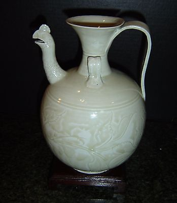 Antique Chinese Song Yaozhou Glazed Carved Celadon Phoenix Head Wine Ewer Pot.