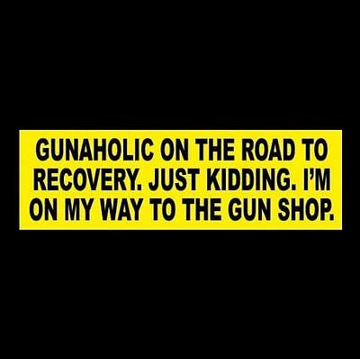 "Funny ""GUNAHOLIC ON THE ROAD TO RECOVERY"" gun rights BUMPER STICKER Anti Hillary"