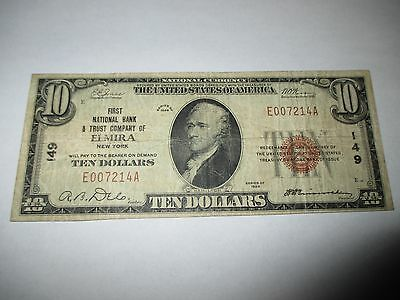$10 1929 Elmira New York NY National Currency Bank Note Bill! Ch #149 FINE