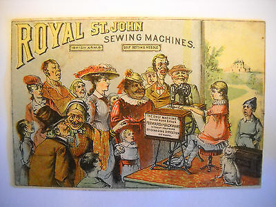 ROYAL ST JOHN SEWING MACHINE Victorian TRADE CARD CHROMOLITHO crowd watches girl