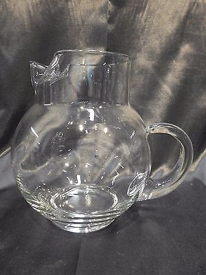 Vintage Blown Glass Ball Shaped Pitcher With Ice Lip