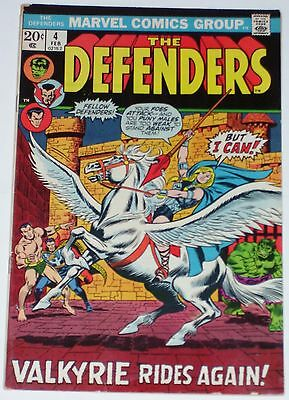 Defenders #4 from Feb 1973 VG to VG/F Valkyrie joins Defenders
