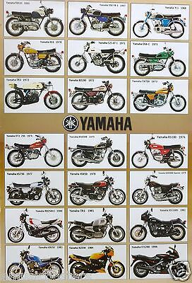 """Yamaha """"21 Models From 1965-1986"""" Poster -Rzs350,xs850,tr1,rs100,xj650,dt2,xs750"""