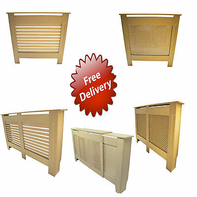Traditional MDF Wood Radiator Cover Cabinet | Unfinished | Medium Large Extra