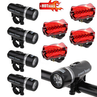 4PCS Waterproof Lamp Bike Bicycle Front 5 LED Head Light +Rear Safety Flashlight