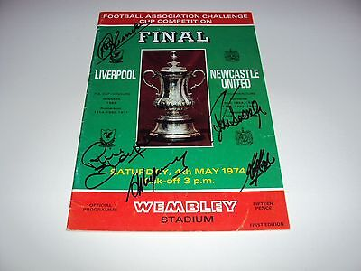 LIVERPOOL 1974 FA CUP PROGRAMME SIGNED x4 KEEGAN CLEMENCE HEIGHWAY THOMPSON COA