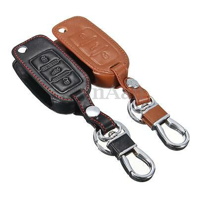 1Pc Black/Brown 2 Button Remote Car Leather Key Cover Case Bag For Volkswagen