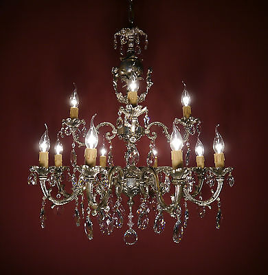 Filigree Cherubs French Silver Chandelier Crystal Glass Vintage Old Brass