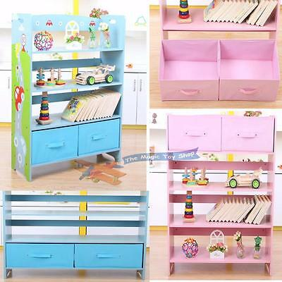 Kids Toy Shelf Storage Unit Drawers Organiser Cupboard Colorful Shelves Bookcase