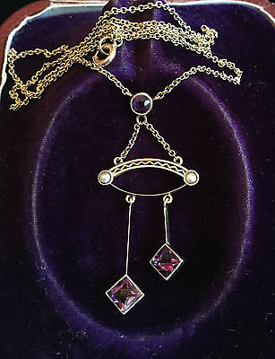 Antique, Exquisite Edwardian 9ct Gold Amethyst & Seed Pearl Lavalier, Circa 1905