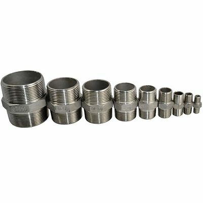 "Hex Nipple 1/8"" Male x 1/8"" Male 304 Stainless Steel threaded Pipe Fitting NPT"