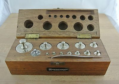 Set of Vintage Graduating Apothecary Brass Scale Weights in Wooden Box