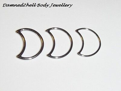 SURGICAL STEEL MOON RING FOR DAITH  ~ LEFT or RIGHT SIDE