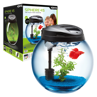 AQUAEL Sphere Aquarium Set 45L Rund komplettset Abdeckung, LED, Heizung, Filter