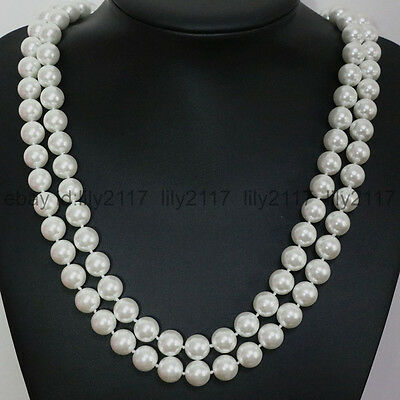 36 Inch genuine 10mm south white sea shell pearl round beads necklace