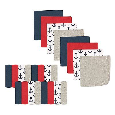 """Luvable Friends 24 Pieces Baby Boys Washcloths 9"""" X 9"""" Anchor New"""