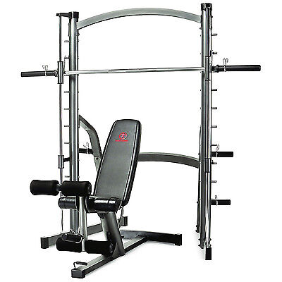 Marcy SM1000 Deluxe Smith Machine Bench Press Rack with Adjustable Weight Bench