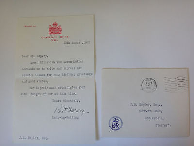 Royal Letter Queen Mother 1962 Clarence House Ruth Fermoy Lady in Waiting 63