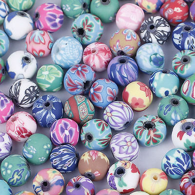 Wholesale Mixed Round Flower Fimo Polymer Clay Beads Charms Craft DIY Bracelet