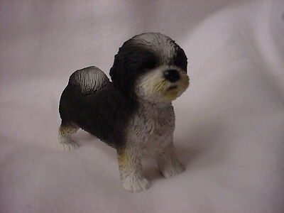 SHIH TZU Dog Figurine COLLECTIBLE Resin Statue BLACK WHITE Puppy Sport Cut NEW